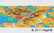 Physical Panoramic Map of Oromiya, political outside