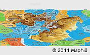 Physical Panoramic Map of Oromiya, political shades outside