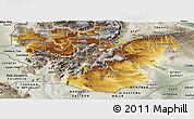 Physical Panoramic Map of Oromiya, semi-desaturated