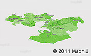 Political Shades Panoramic Map of Oromiya, cropped outside