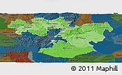 Political Shades Panoramic Map of Oromiya, darken