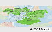 Political Shades Panoramic Map of Oromiya, lighten