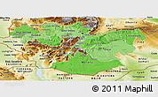 Political Shades Panoramic Map of Oromiya, physical outside