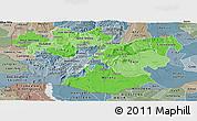 Political Shades Panoramic Map of Oromiya, semi-desaturated