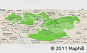 Political Shades Panoramic Map of Oromiya, shaded relief outside