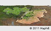 Satellite Panoramic Map of Oromiya, darken
