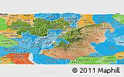 Satellite Panoramic Map of Oromiya, political shades outside