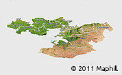Satellite Panoramic Map of Oromiya, single color outside
