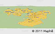 Savanna Style Panoramic Map of Oromiya, single color outside