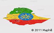 Flag Panoramic Map of Ethiopia, flag centered