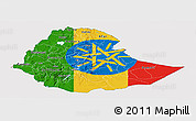 Flag Panoramic Map of Ethiopia, flag aligned to the middle
