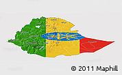 Flag Panoramic Map of Ethiopia, flag rotated
