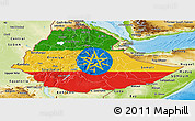 Flag Panoramic Map of Ethiopia, physical outside
