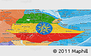 Flag Panoramic Map of Ethiopia, political shades outside