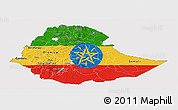 Flag Panoramic Map of Ethiopia