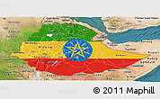 Flag Panoramic Map of Ethiopia, satellite outside