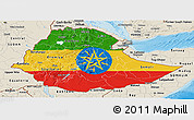 Flag Panoramic Map of Ethiopia, shaded relief outside