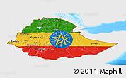 Flag Panoramic Map of Ethiopia, single color outside, bathymetry sea