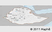 Gray Panoramic Map of Ethiopia, single color outside