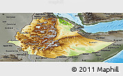 Physical Panoramic Map of Ethiopia, darken, semi-desaturated, land only