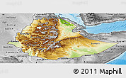 Physical Panoramic Map of Ethiopia, desaturated, land only