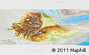 Physical Panoramic Map of Ethiopia, lighten, semi-desaturated, land only