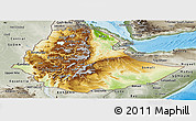 Physical Panoramic Map of Ethiopia, semi-desaturated, land only