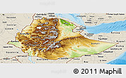 Physical Panoramic Map of Ethiopia, shaded relief outside