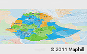 Political Panoramic Map of Ethiopia, lighten