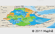 Political Panoramic Map of Ethiopia, shaded relief outside, bathymetry sea