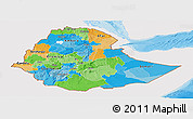 Political Panoramic Map of Ethiopia, single color outside