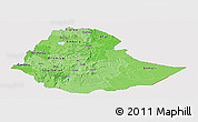 Political Shades Panoramic Map of Ethiopia, cropped outside