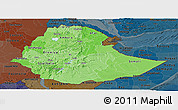 Political Shades Panoramic Map of Ethiopia, darken