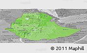 Political Shades Panoramic Map of Ethiopia, desaturated