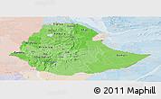 Political Shades Panoramic Map of Ethiopia, lighten