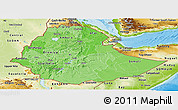 Political Shades Panoramic Map of Ethiopia, physical outside