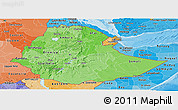 Political Shades Panoramic Map of Ethiopia