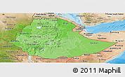 Political Shades Panoramic Map of Ethiopia, satellite outside, bathymetry sea