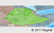 Political Shades Panoramic Map of Ethiopia, semi-desaturated, land only