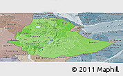 Political Shades Panoramic Map of Ethiopia, semi-desaturated