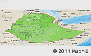 Political Shades Panoramic Map of Ethiopia, shaded relief outside, bathymetry sea