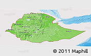 Political Shades Panoramic Map of Ethiopia, single color outside