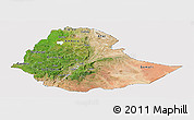 Satellite Panoramic Map of Ethiopia, cropped outside