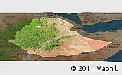 Satellite Panoramic Map of Ethiopia, darken
