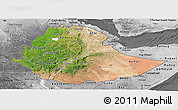 Satellite Panoramic Map of Ethiopia, desaturated
