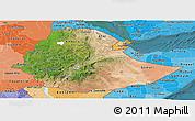 Satellite Panoramic Map of Ethiopia, political shades outside, satellite sea