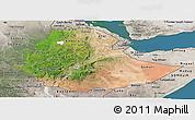 Satellite Panoramic Map of Ethiopia, semi-desaturated, land only