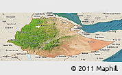 Satellite Panoramic Map of Ethiopia, shaded relief outside, satellite sea