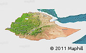 Satellite Panoramic Map of Ethiopia, single color outside