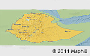 Savanna Style Panoramic Map of Ethiopia, single color outside